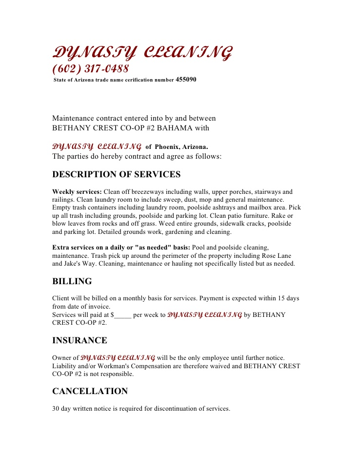 Free printable cleaning contract template form generic for Monthly service contract template