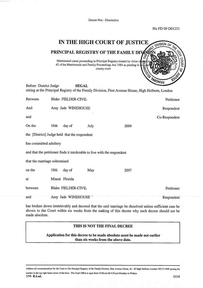 Free Printable Divorce Papers Form (GENERIC)