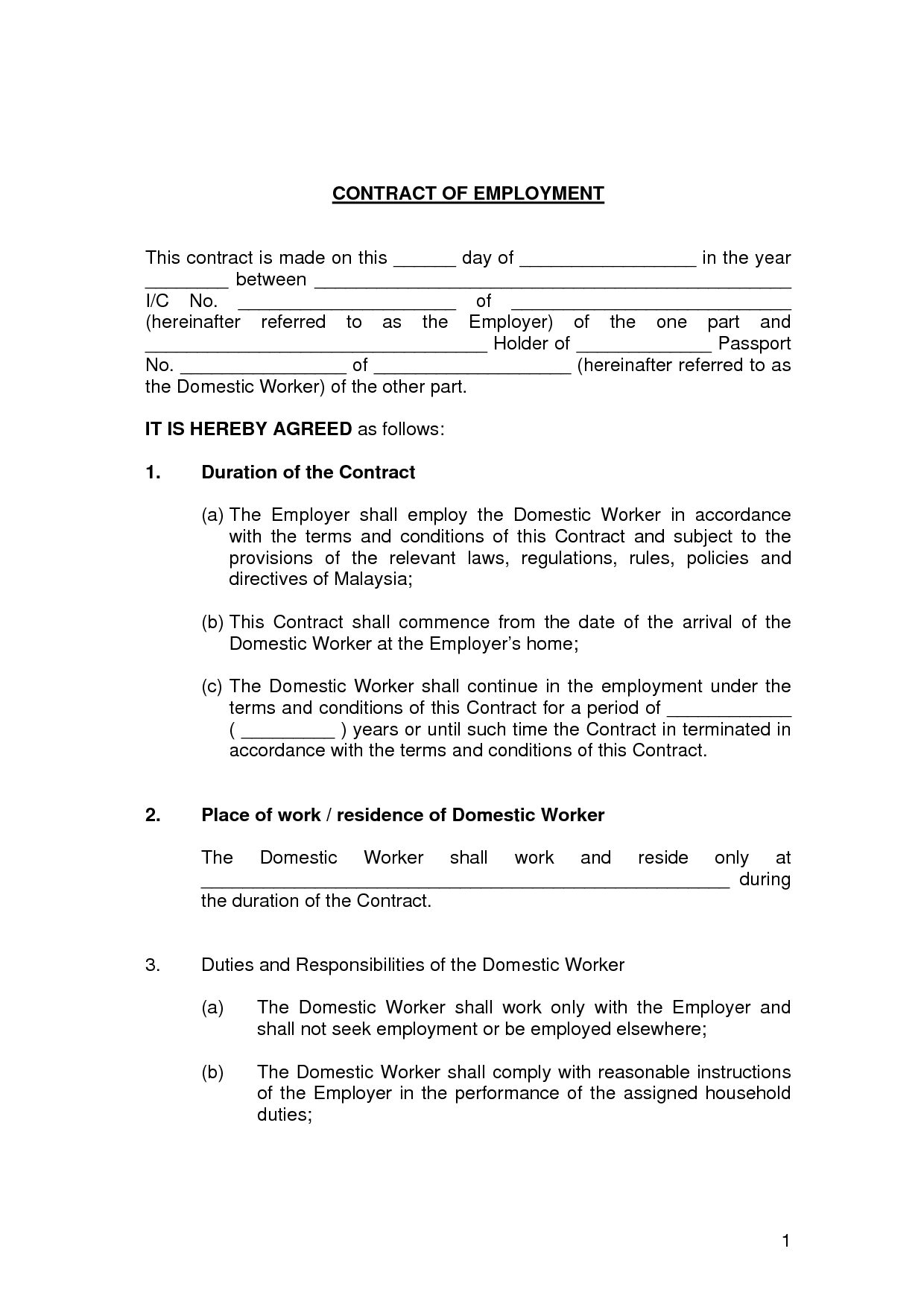 Free printable employment contract sample form generic for Terms of employment contract template