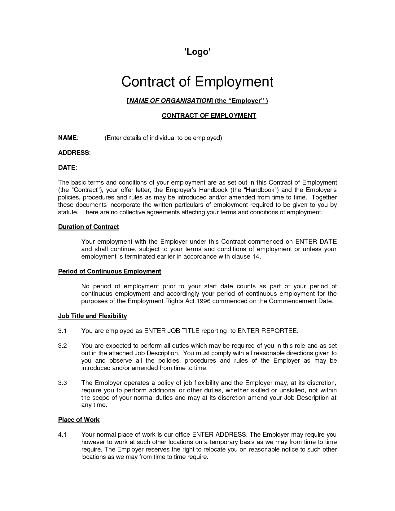 standard contract of employment template - free printable employment contract sample form generic