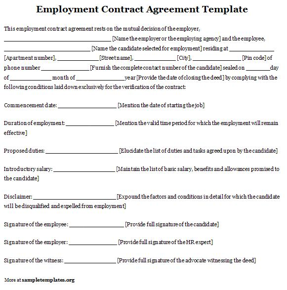 Free printable employment contract sample form generic for Temporary employment contract template free