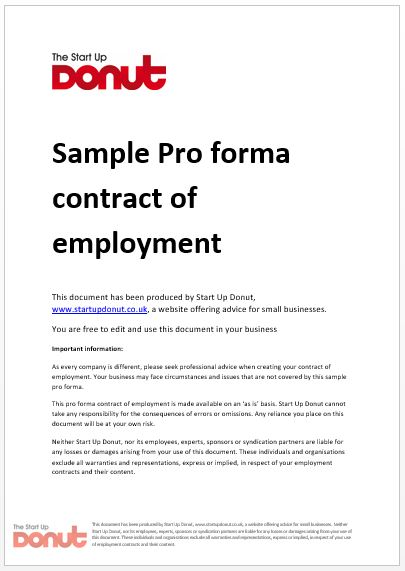Free printable employment contract sample form generic employment contract sample wajeb Choice Image