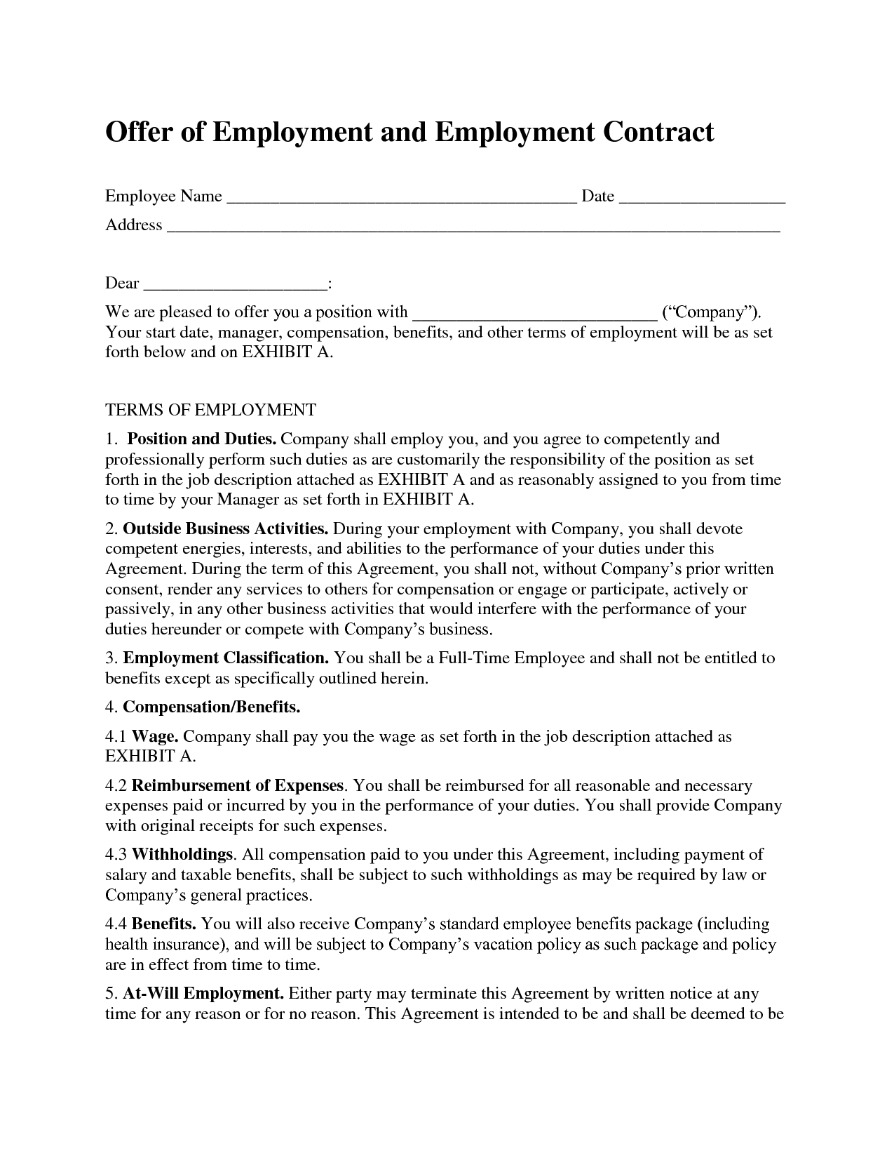 Free printable employment contract sample form generic for Part time employment contract template free