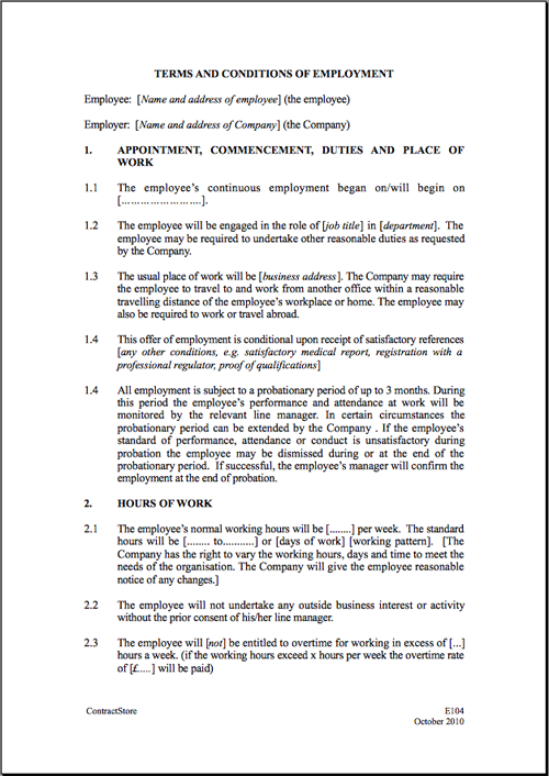 Free Printable Employment Contract Sample Form  GENERIC 8C6sUQqT