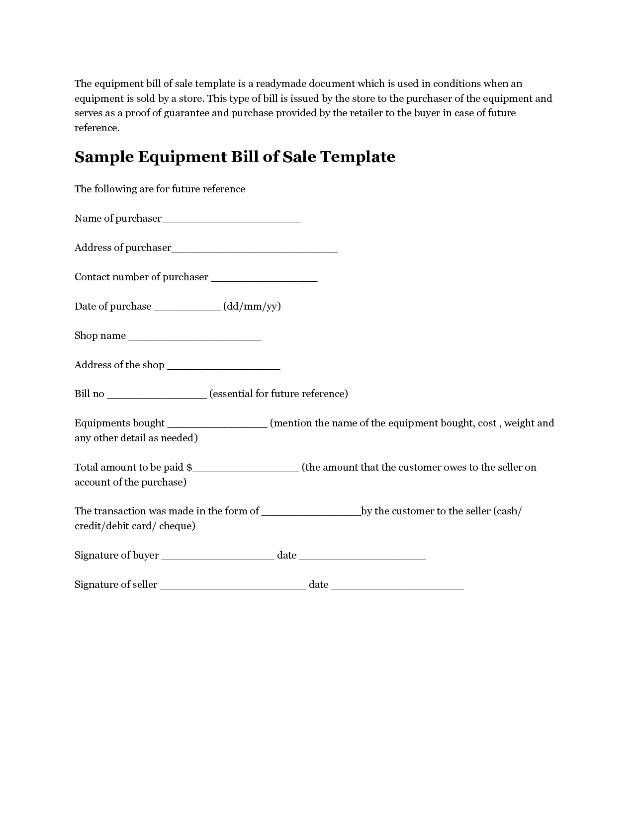 Legal Bill Of Sale Template