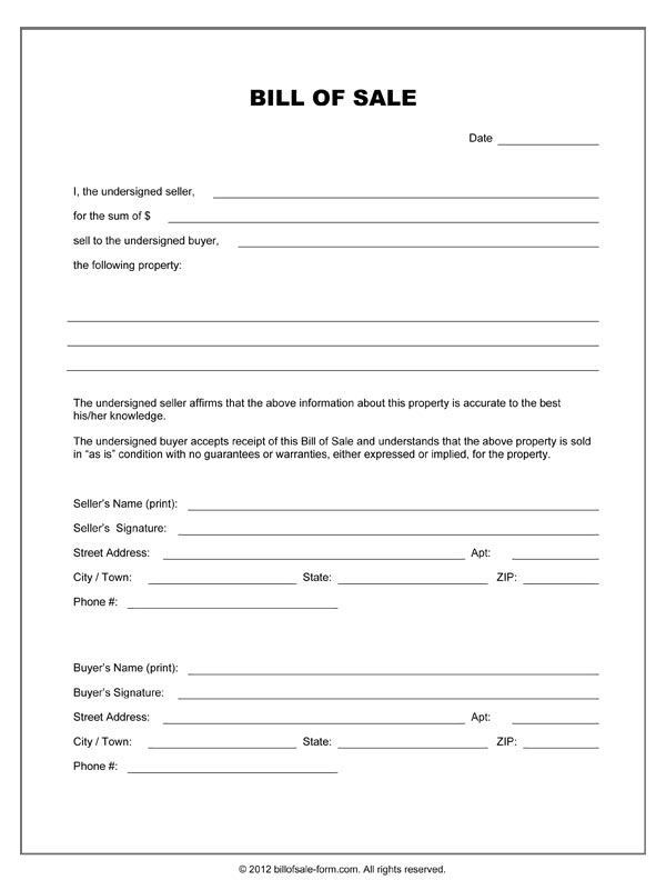 Equipment Bill Of Sale Template