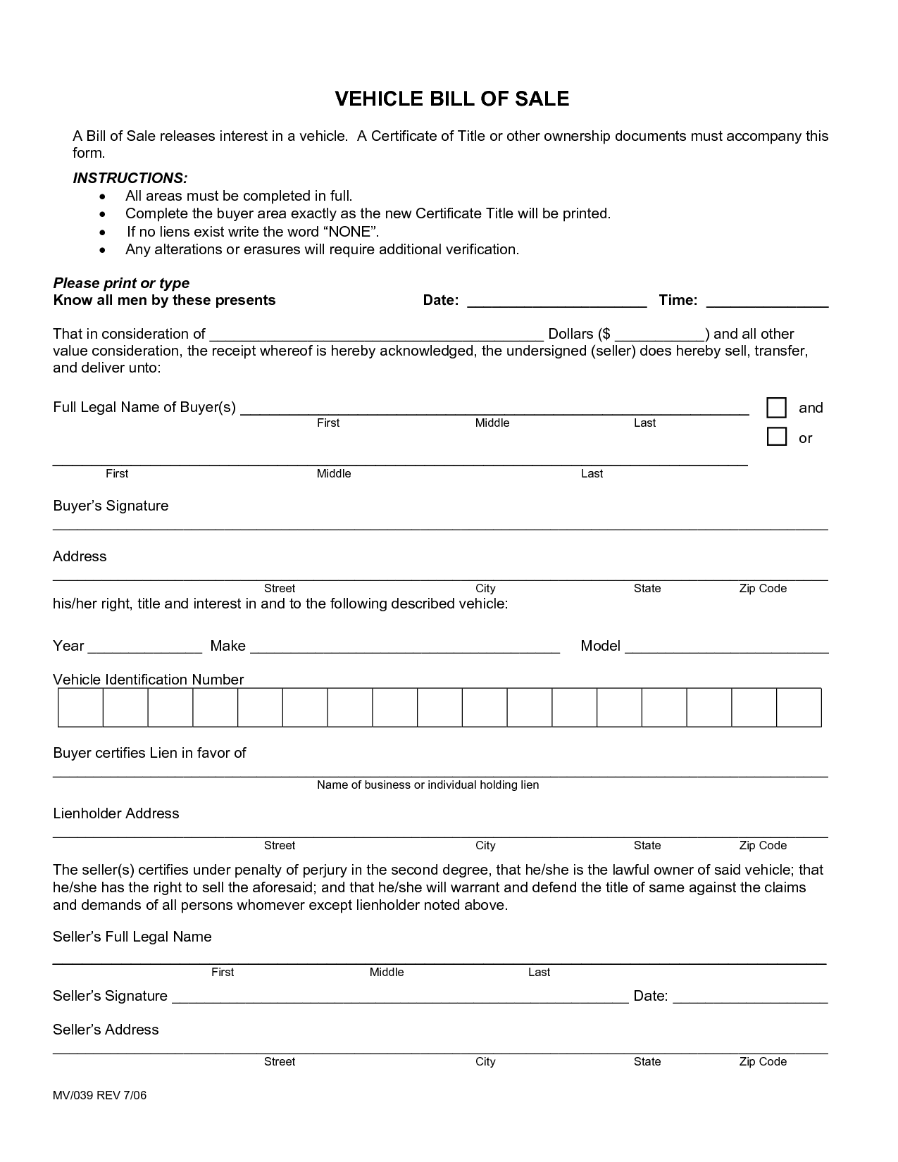 free tennessee vehicle bill of sale form download pdf word