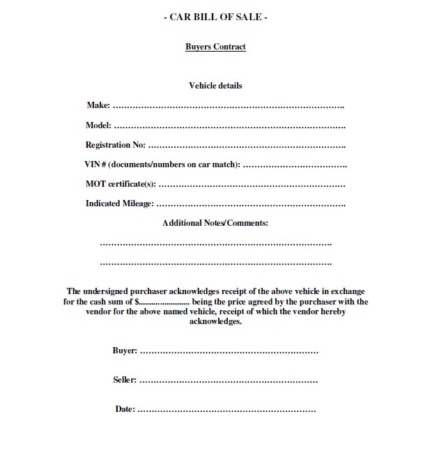 Free Printable Free car bill of sale template Form GENERIC – Free Printable Bill of Sale