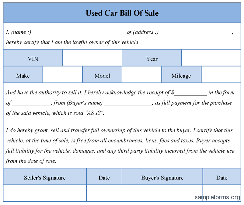 bill of sell