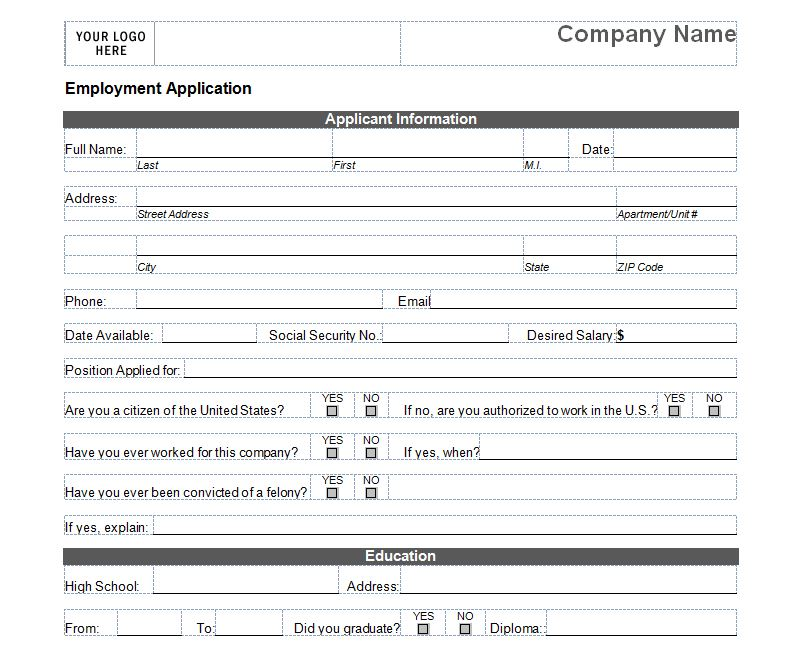 Free Job Application Free Employment Application Template
