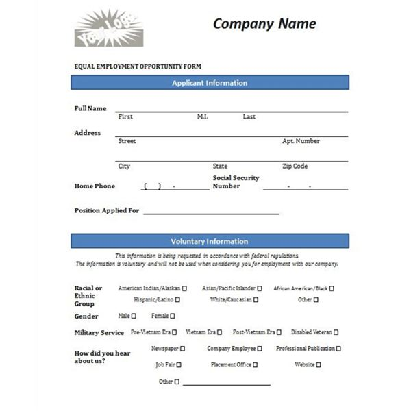 printable sample job application