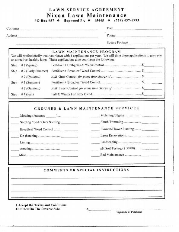 Free printable lawn care contract form generic for Garden maintenance contract template