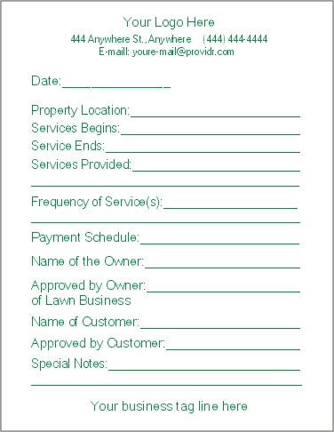 free printable lawn care contract form generic. Black Bedroom Furniture Sets. Home Design Ideas