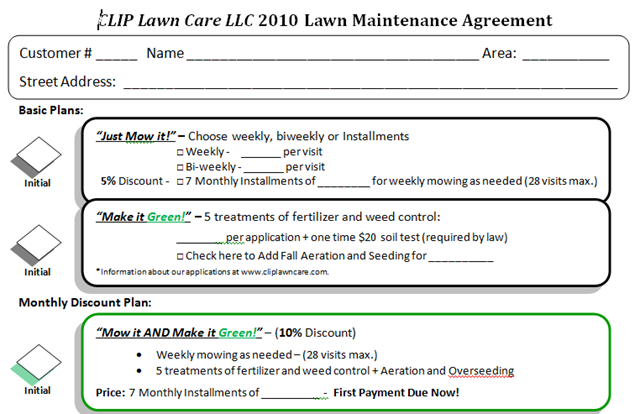 Lawn Care Contract Sample  Free Printable Contract Forms