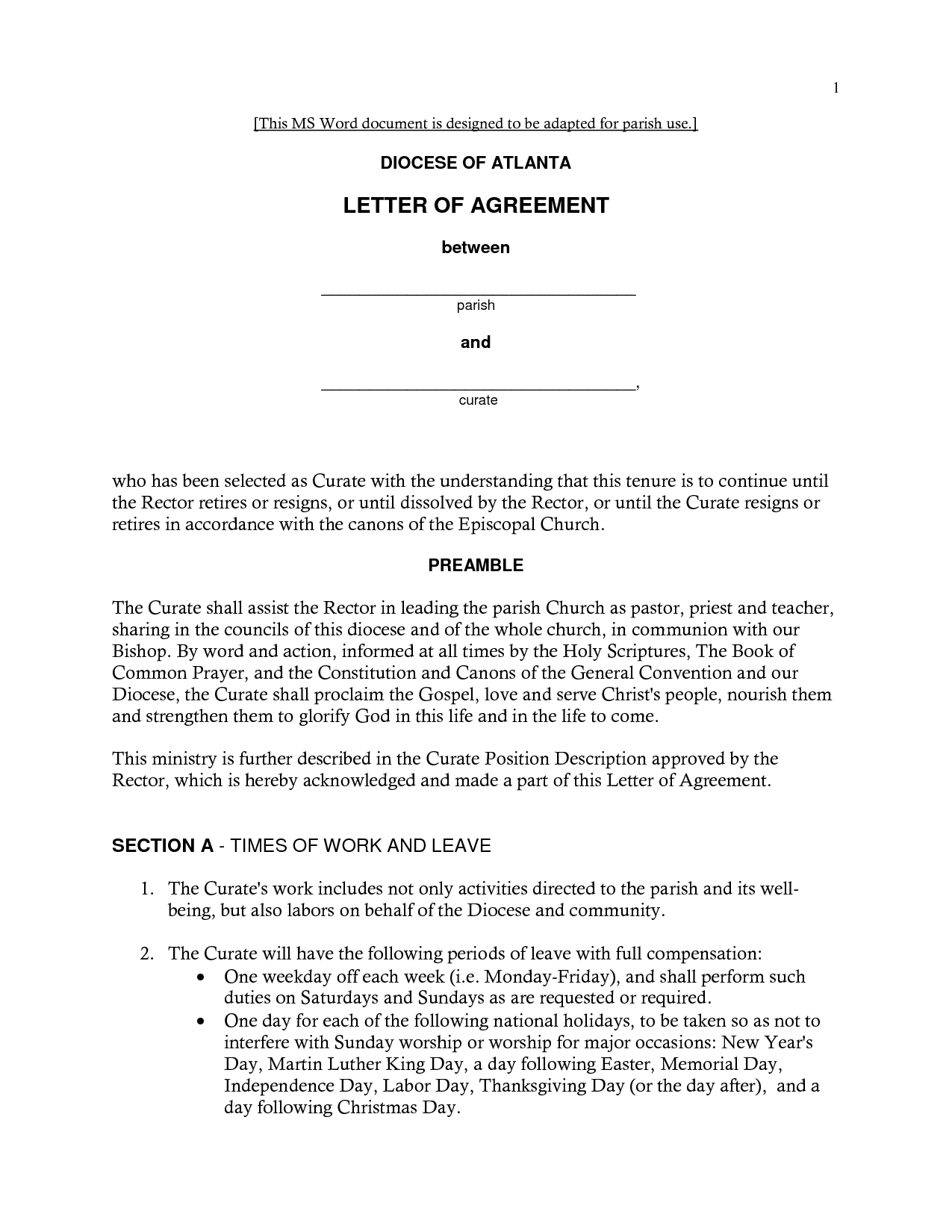 Free Printable Letter Of Agreement Form GENERIC