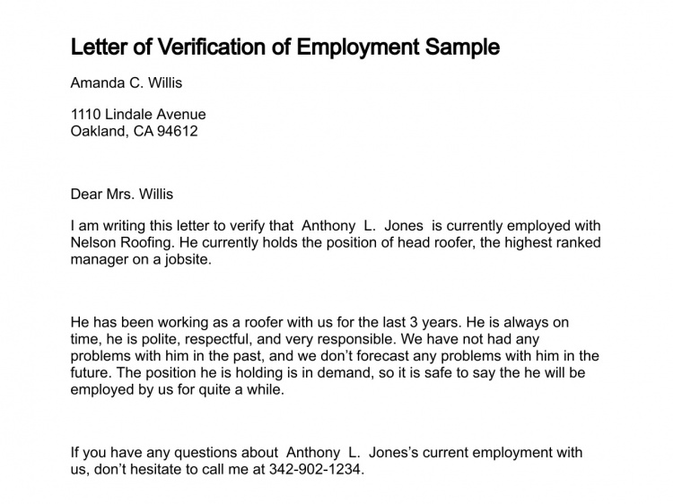 Letter Of Employment Verification