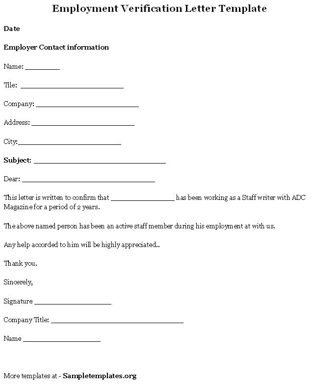 free printable letter of employment verification form generic. Black Bedroom Furniture Sets. Home Design Ideas