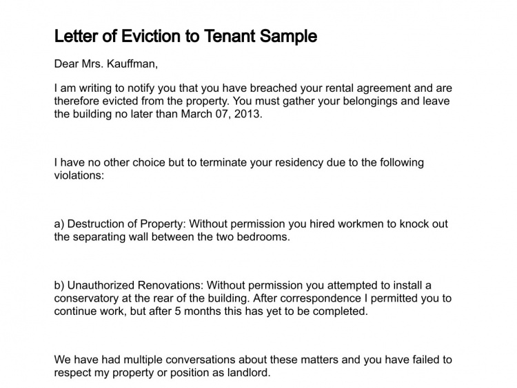 Free Printable Letter Of Eviction Form Generic