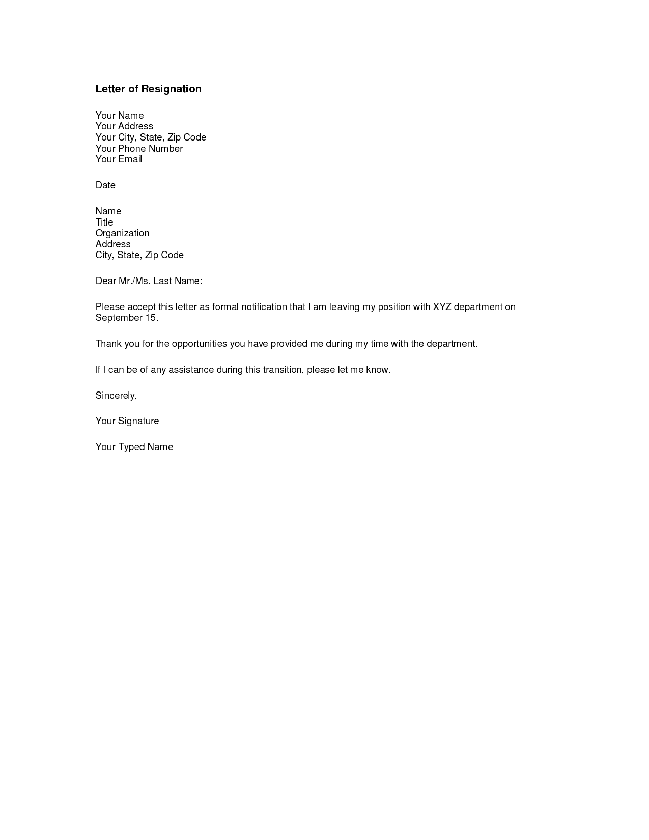 Formal Letter Of Resignation