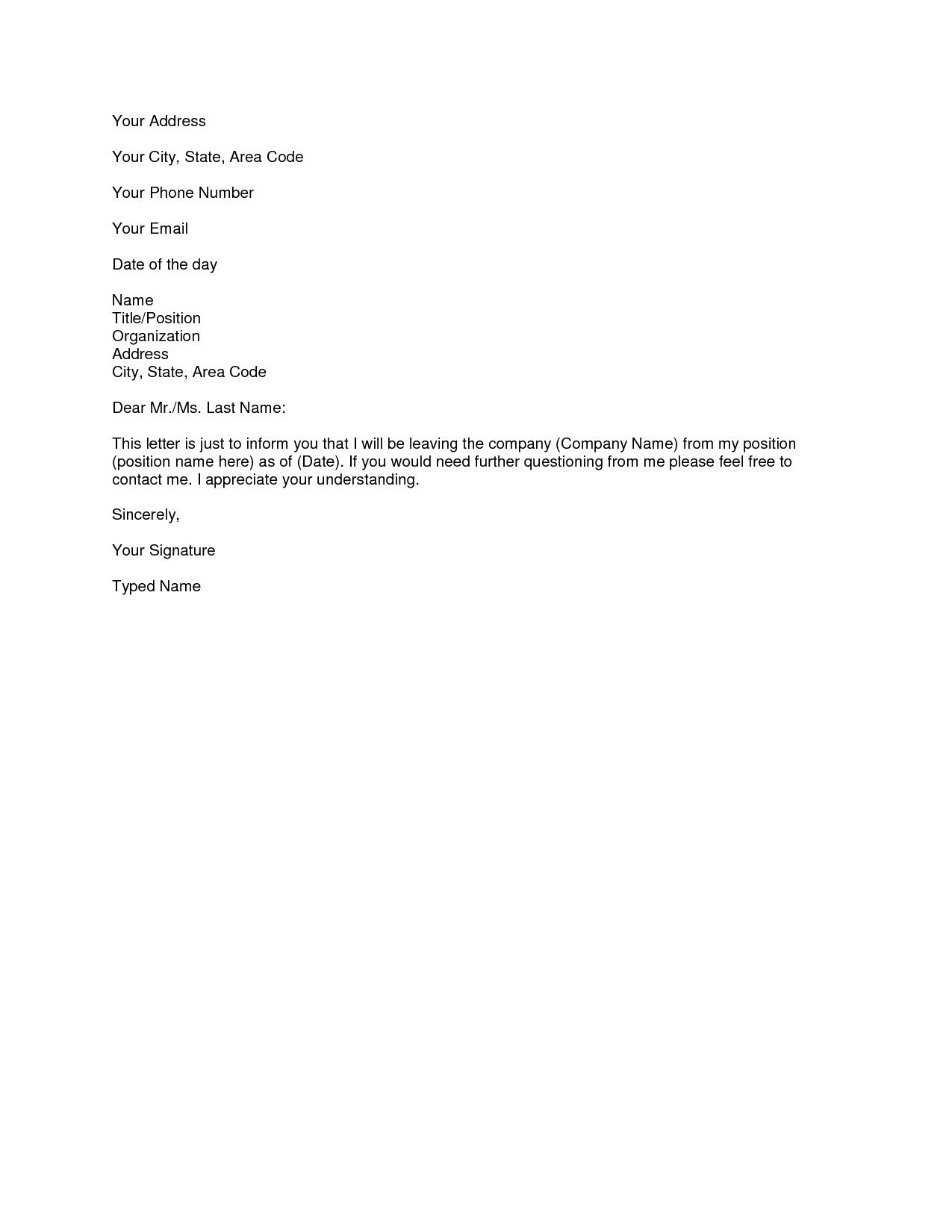 letter-of-resignation-510 Quick Letter Template For Real Estate on