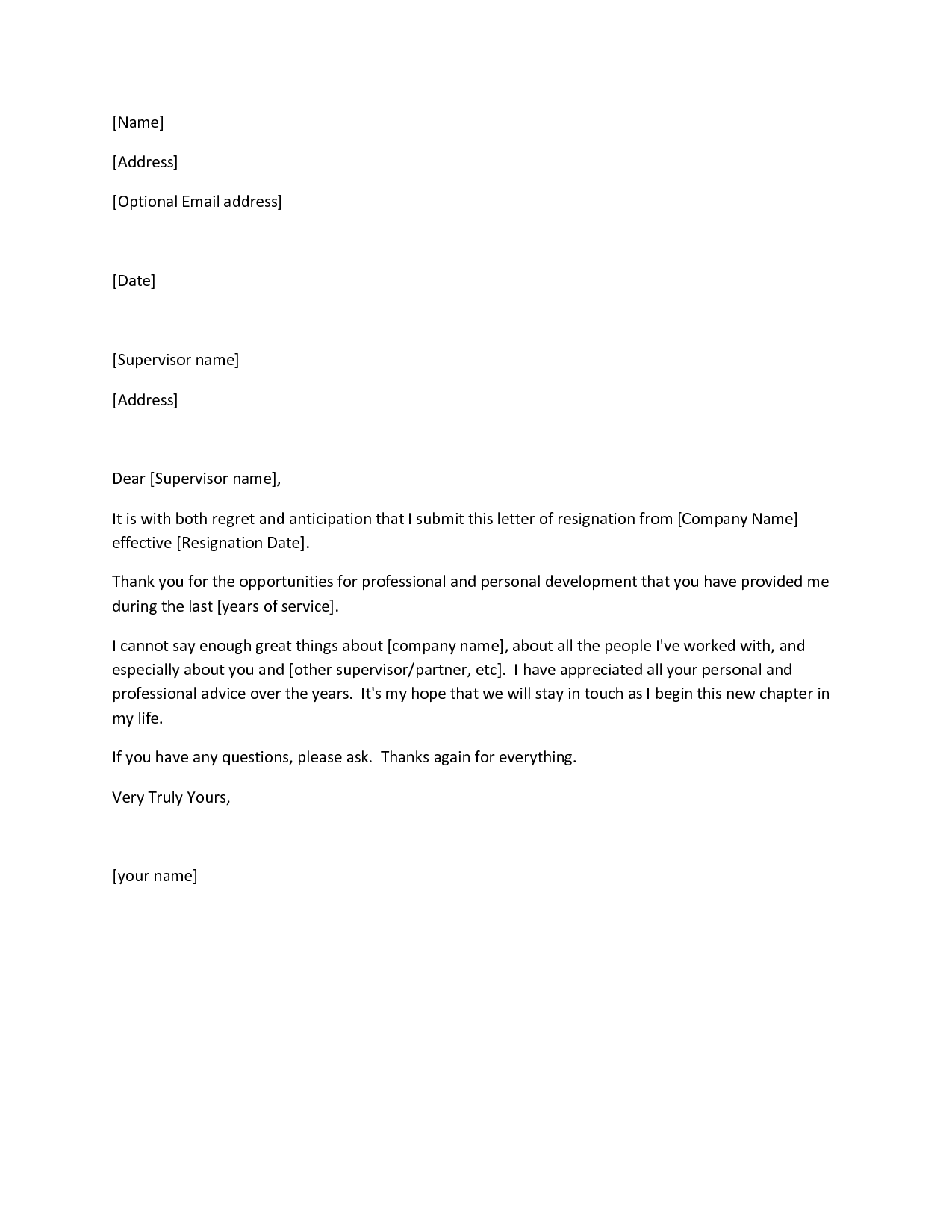 Free Printable Letter Of Resignation Form  Generic