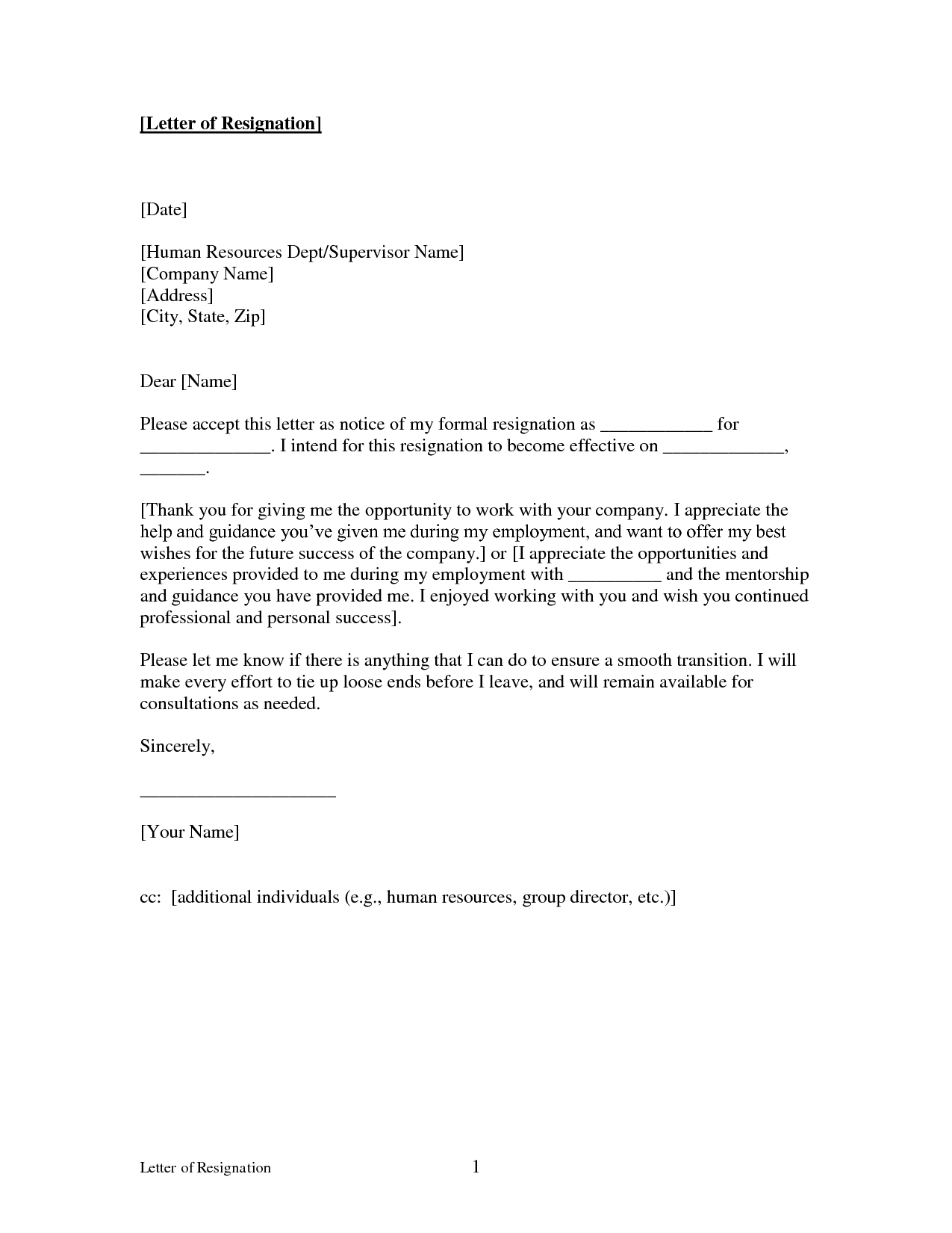 free printable letter of resignation form generic sample