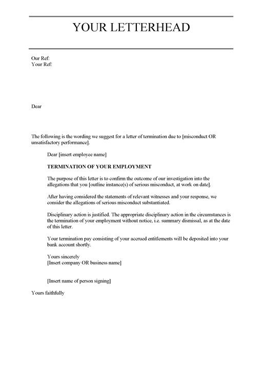 Job Termination Letters  Format For Termination Letter