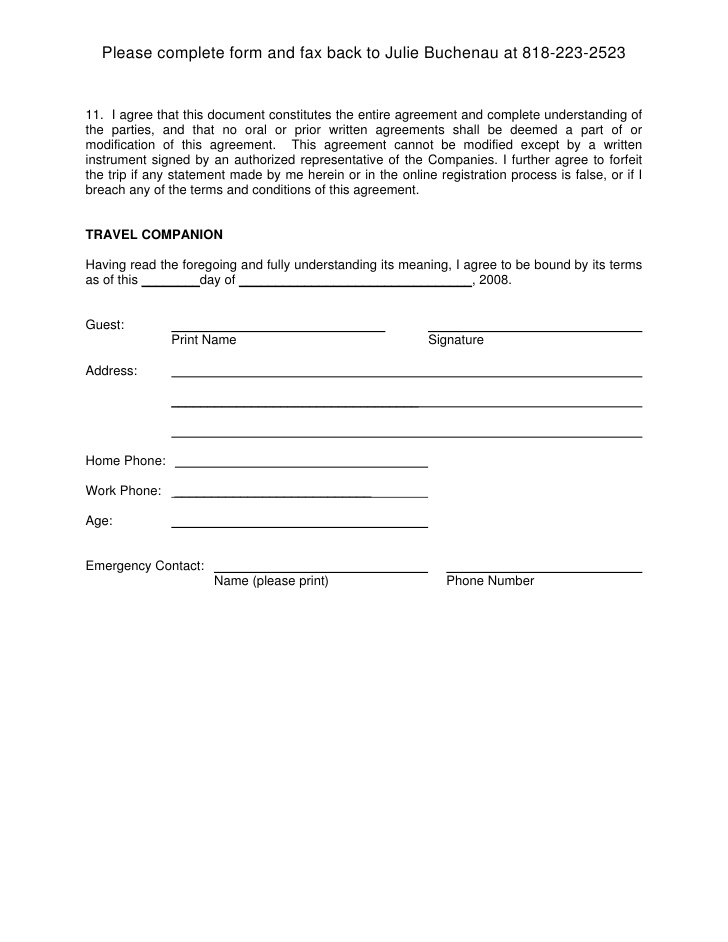 free printable liability document form  generic
