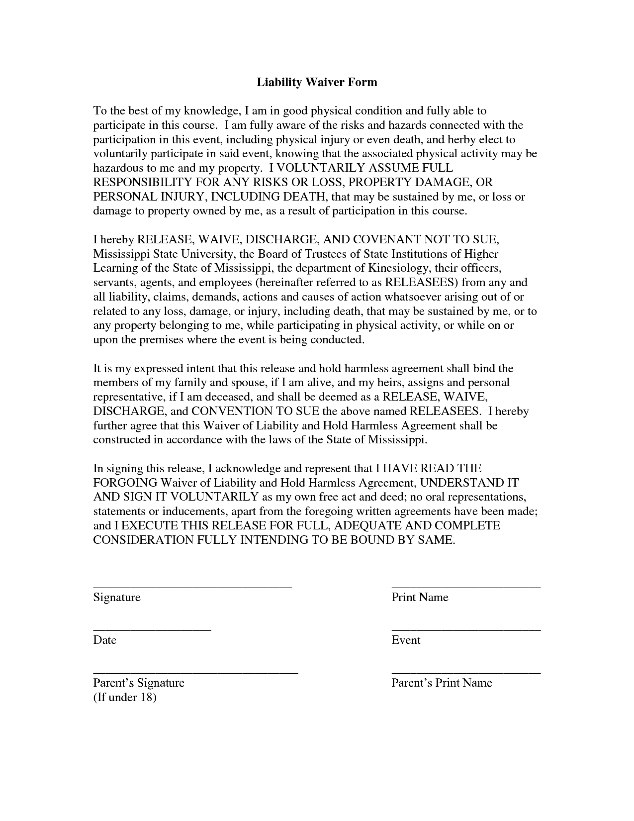 Free Printable Liability Form Form GENERIC – Liability Document
