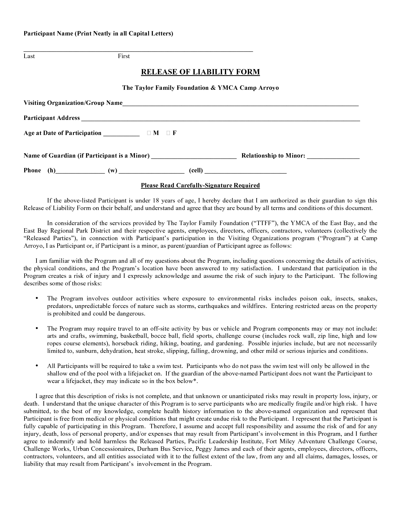 Waiver Of Liability Form Free computer repair sample resume no – Release of Liability Template Free