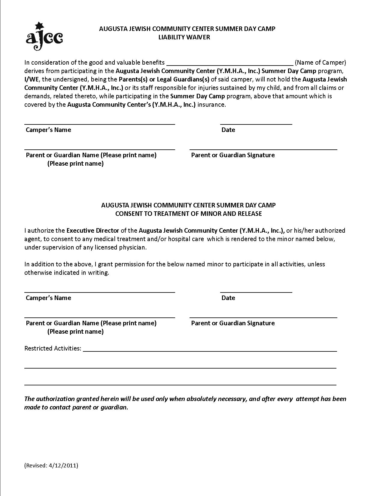 ... Liability Form ...  Basic Liability Waiver Form