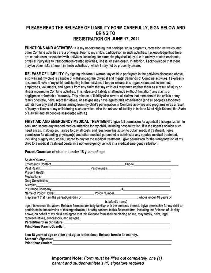 Free Printable Liability Form Form (Generic)