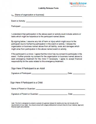 Free printable liability release form sample form generic for Waiver of liability template uk