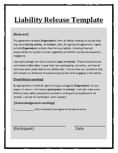 Free printable liability release form sample form generic for Release from liability form template