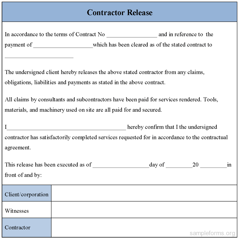 Liability Release Form Sample ...  Liability Contract Template