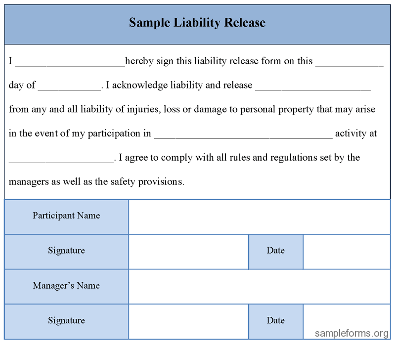 Liability Release Form Sample Liability Release Form Sample ...