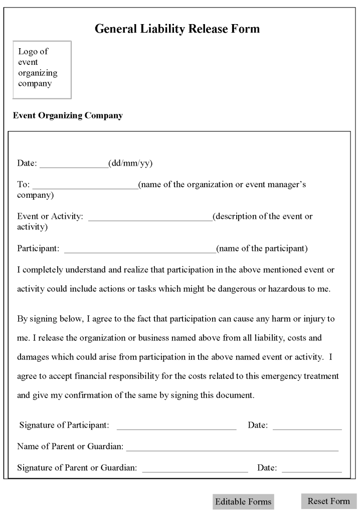 free printable liability release form template form  generic