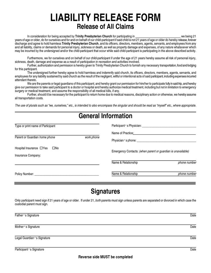 free printable liability release waiver form form generic. Black Bedroom Furniture Sets. Home Design Ideas