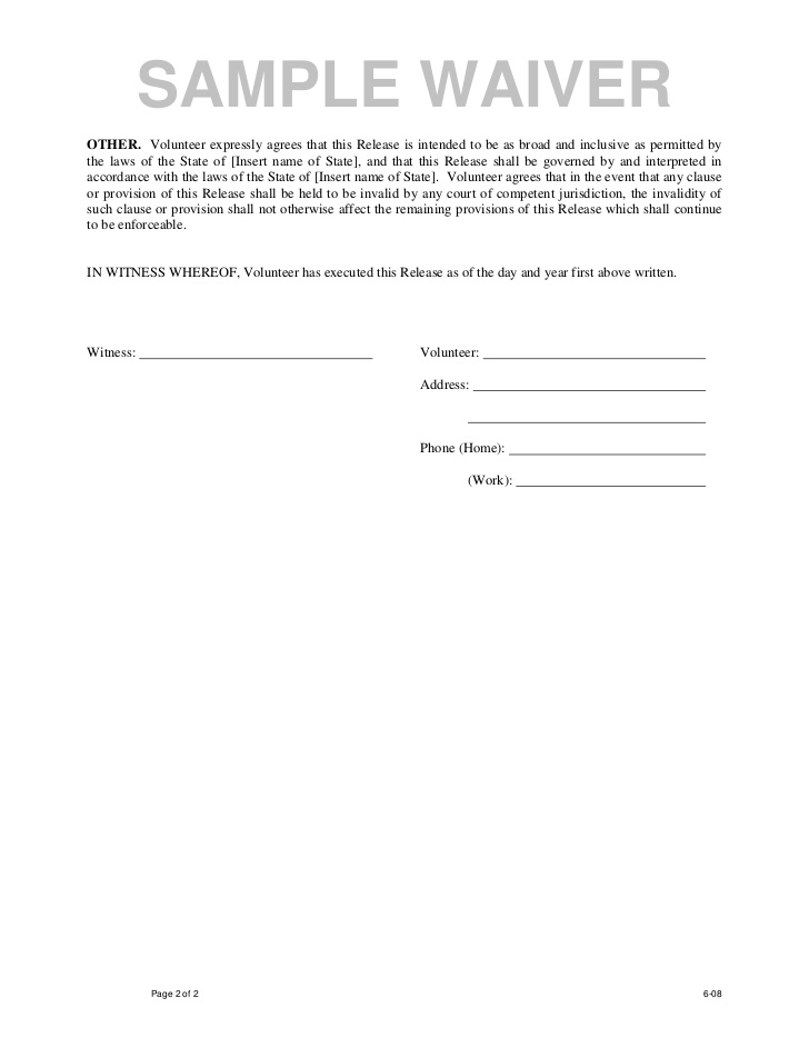 Free Printable Liability Waiver Form Template Form (GENERIC)