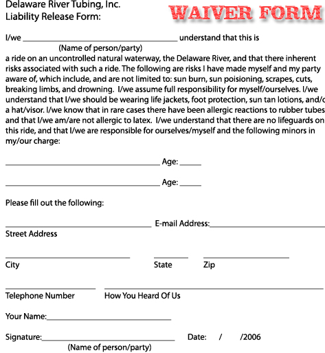 ... Liability Waiver Sample ...  Basic Liability Waiver Form