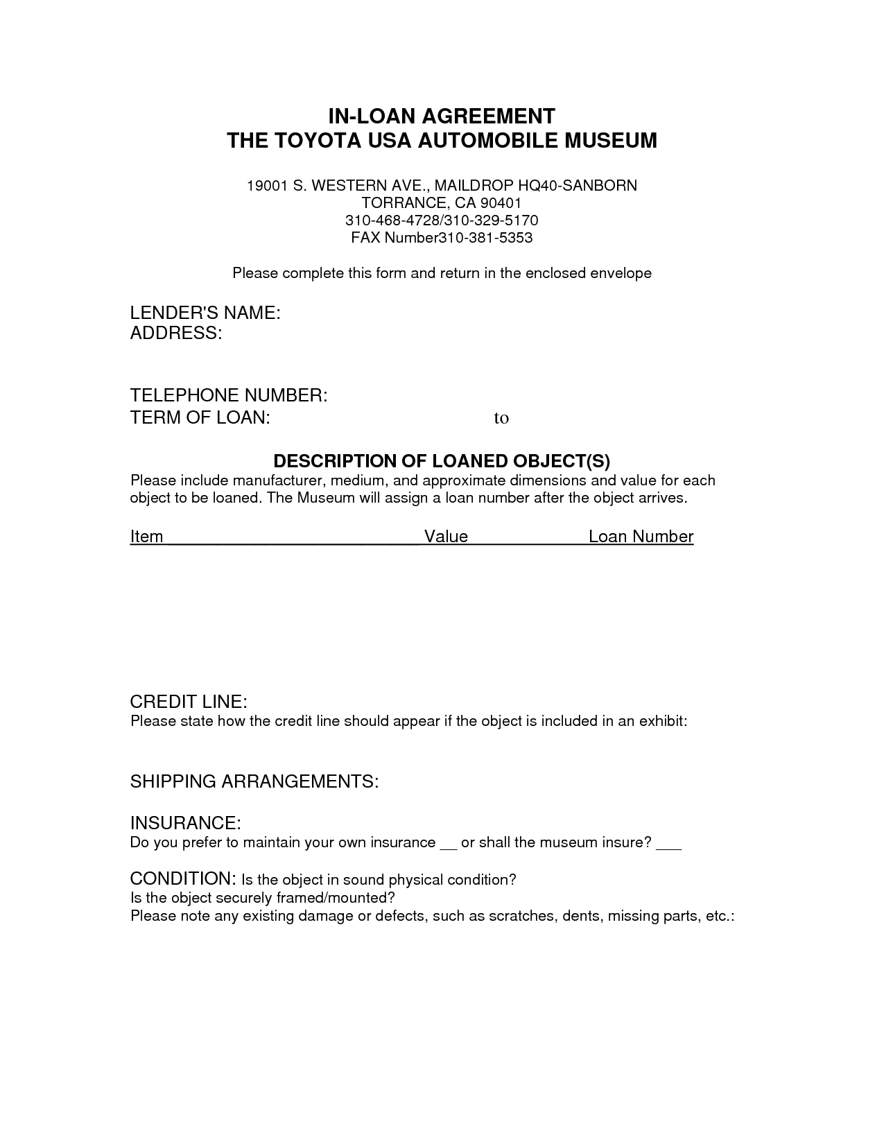 free printable loan agreement form form generic. Black Bedroom Furniture Sets. Home Design Ideas