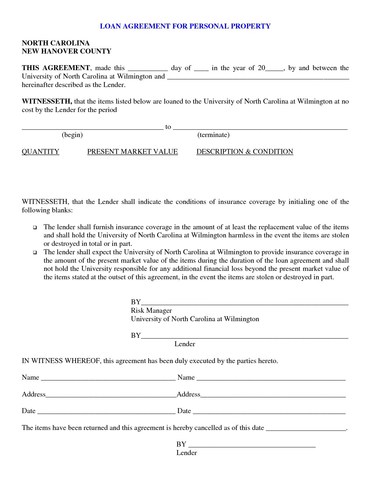 Free Printable Loan Agreement Form Form (GENERIC)