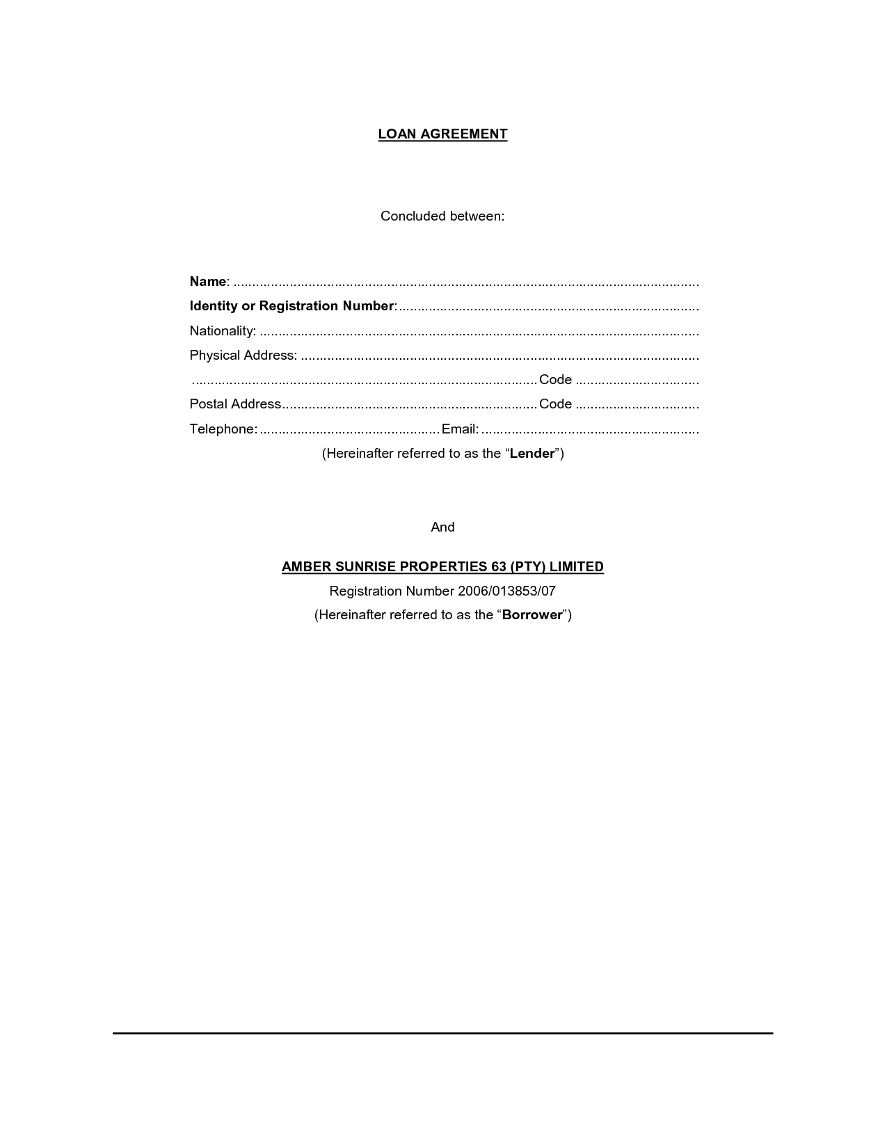 loan agreement form – Loan Forms Template