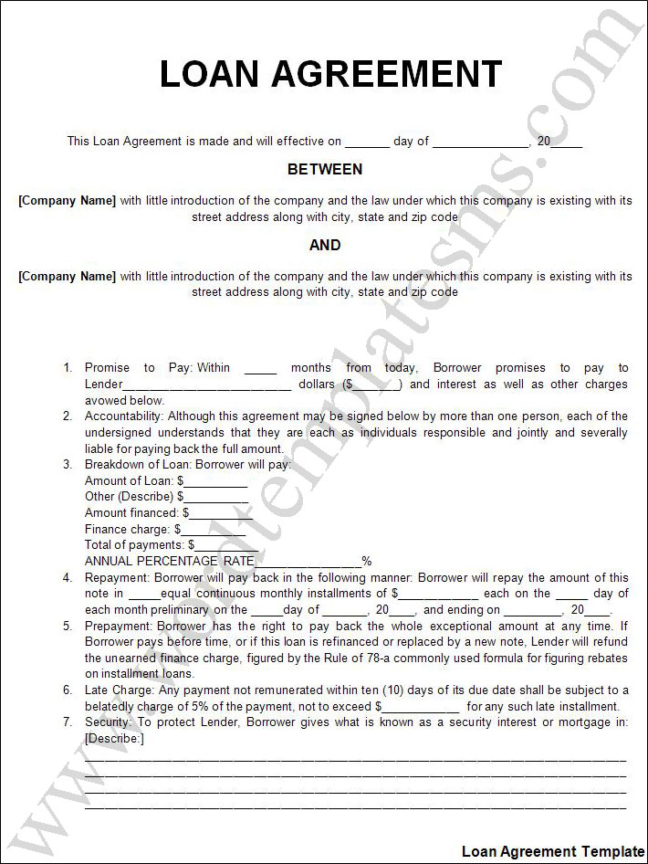 Doc468605 Loan Contracts Templates 5 Loan Agreement Templates – Loan Contract Example