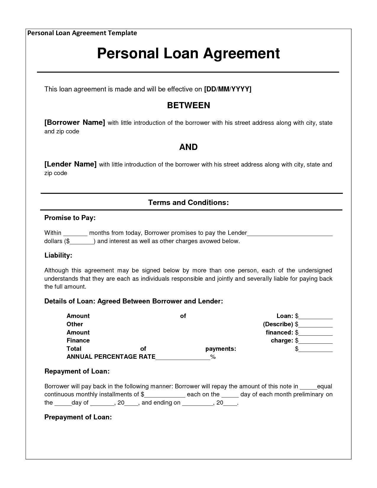 loan agreement between family members template - Template
