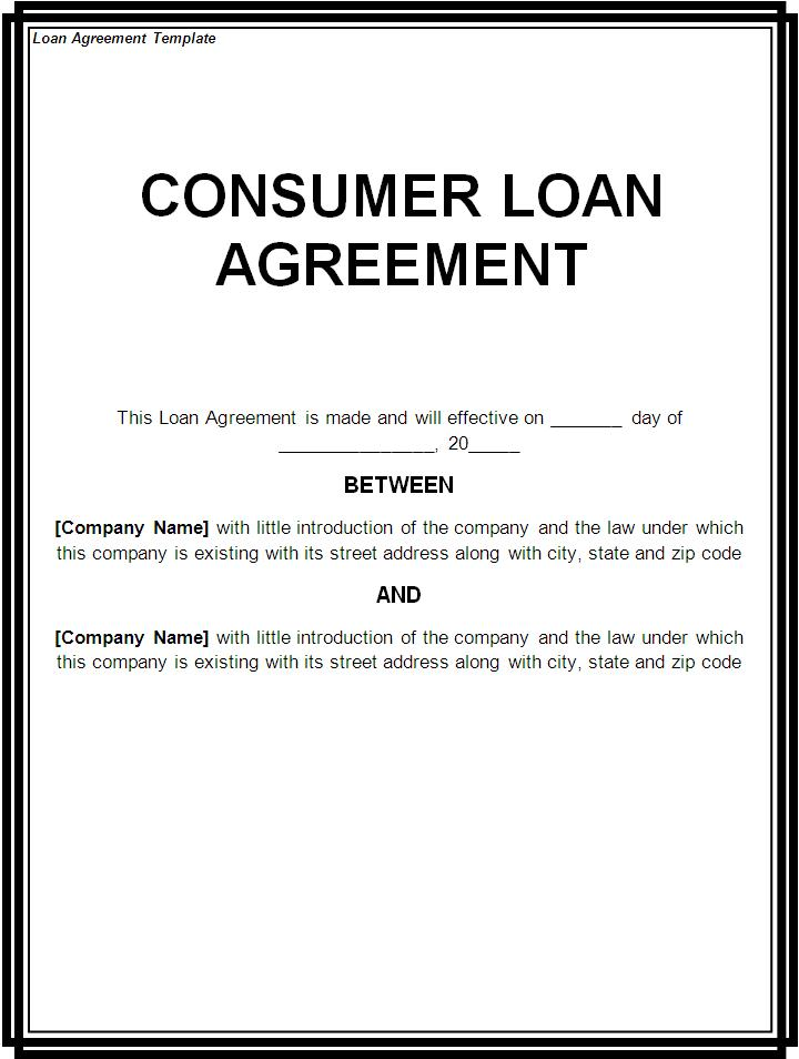 Free Printable Loan Template Form GENERIC – Simple Loan Form