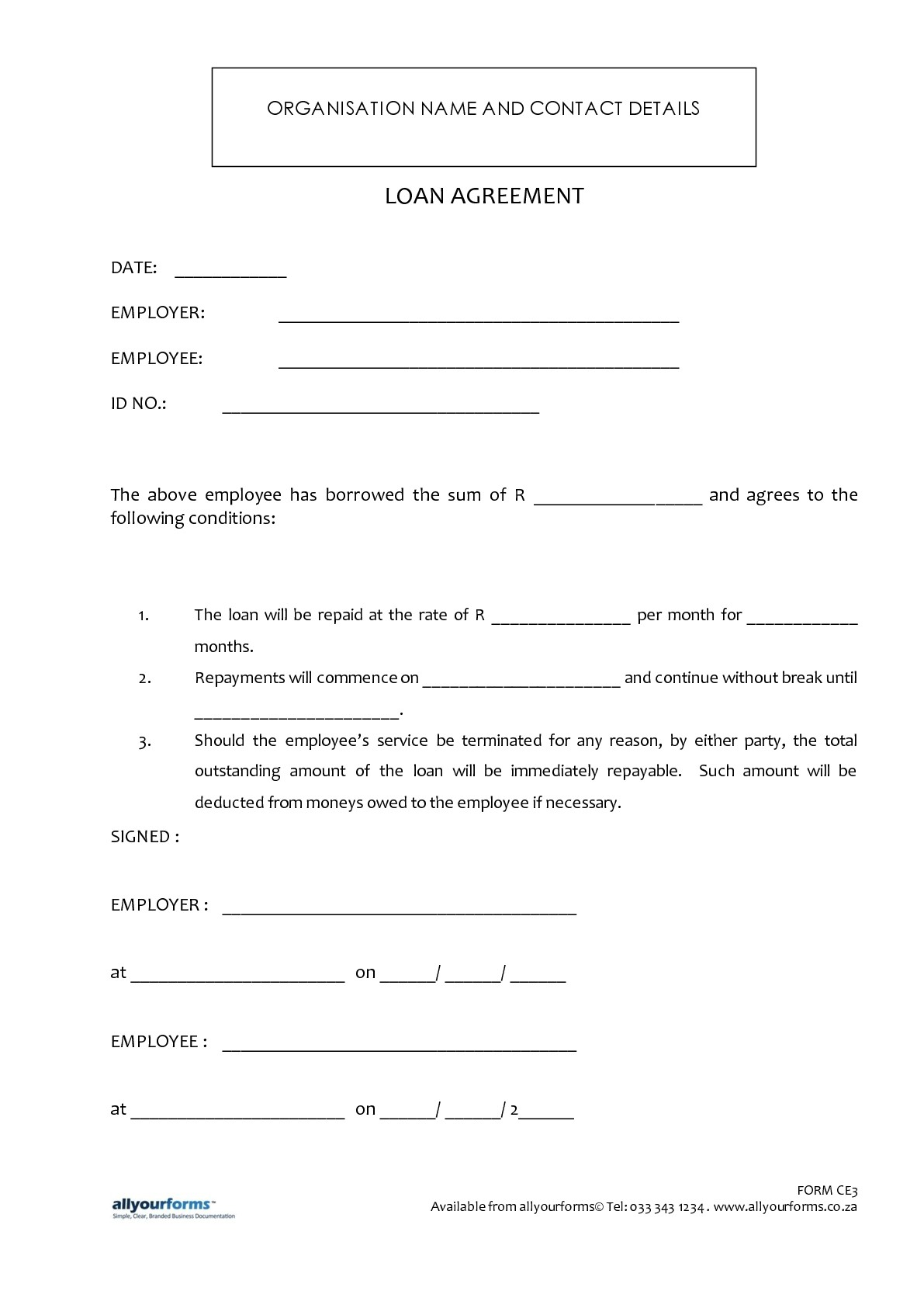 Free Printable Loan Template Form Generic