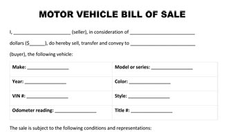 vehicle bill of sale tn
