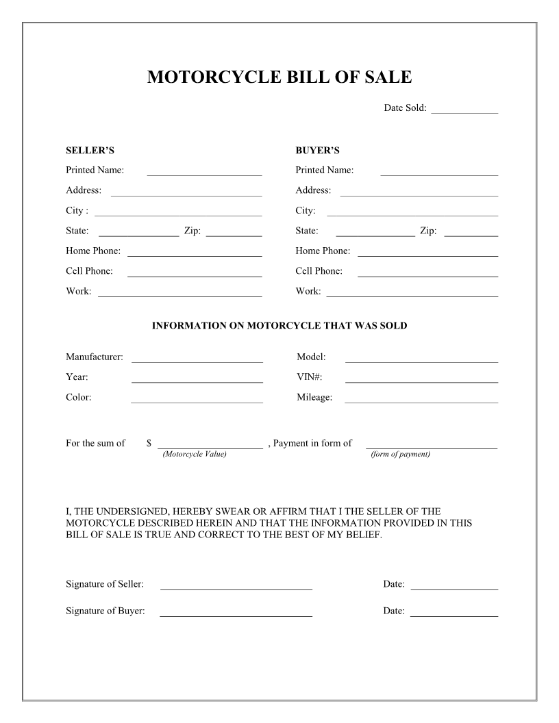 free printable motorcycle bill of sale form generic