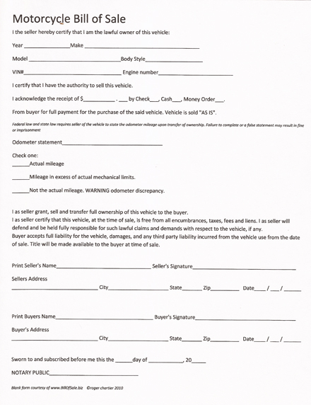 bill of sale form motorcycle